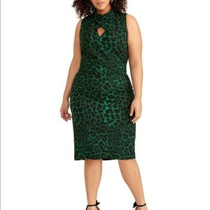 Green animal print sexy dress